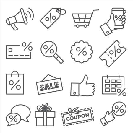 Promotion and coupon line icons