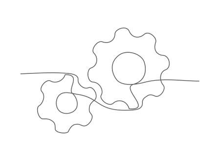 Gear One line drawing Vector
