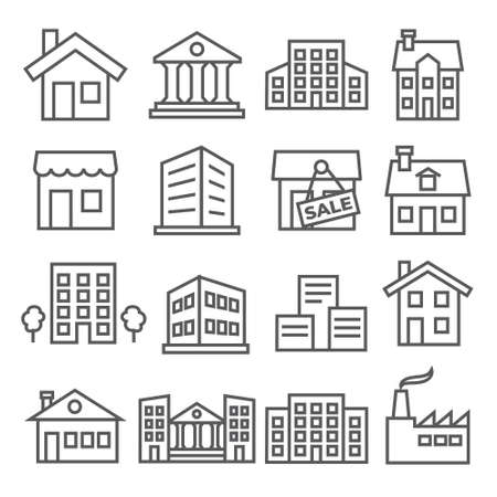 Buildings and Houses Line Icons