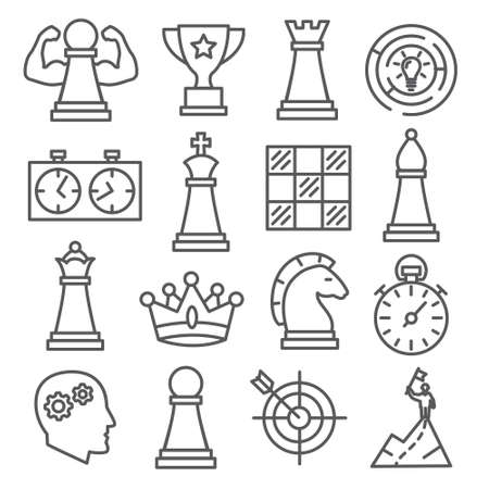 Chess line icons set on