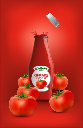 Tomatos  and tomato ketchup Vector Eps