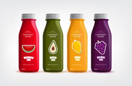 Fruits juice bottles on white background vector illustration.