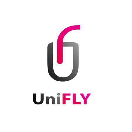 Uni fly logo template black pink gradient Illustration