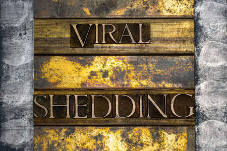 Viral Shedding text formed with real authentic typeset letters on vintage textured silver grunge copper and gold background