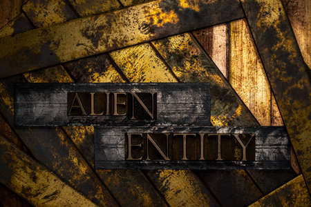Alien Entity text formed with real authentic typeset letters on vintage textured silver grunge copper and gold background