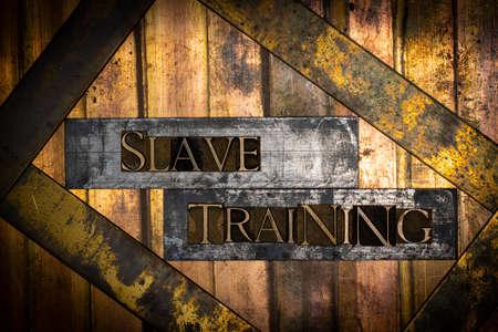 Slave Training text message on textured grunge copper and vintage gold background Standard-Bild