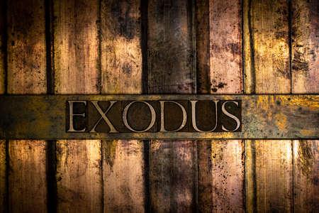 Exodus text message on vintage textured grunge bronze background