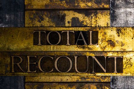 Total Recount text message on textured grunge copper and vintage gold background