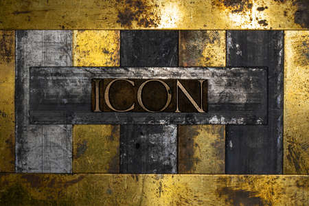 Icon text message on vintage textured grunge copper and gold background Stockfoto