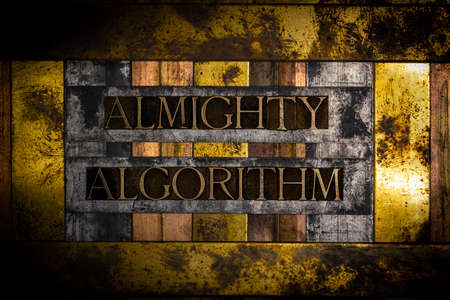 Almighty Algorithm text on textured grunge copper and vintage gold background