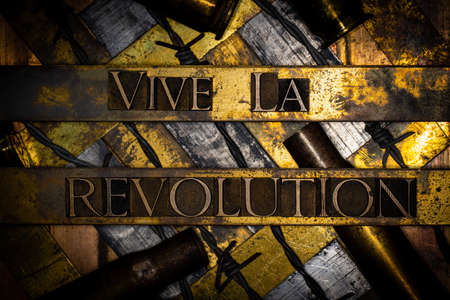 Long Live The Revolution or Vive La Revolution text with barbed wire on grunge silver with textured copper and gold background