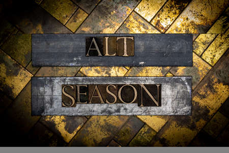 Alt Season text on textured grunge copper and vintage gold