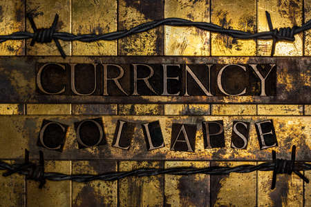 Currency Collapse text on vintage textured grunge gold and copper background