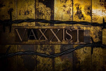 Vaxxist text formed with real authentic typeset letters on vintage textured silver grunge copper and gold background Stockfoto