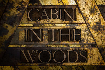 Cabin In The Woods text on vintage textured grunge silver and gold background