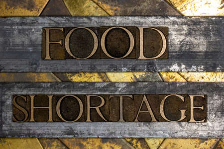 Food Shortage text on vintage textured grunge copper and gold background