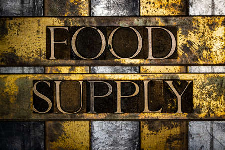 Food Supply text message on vintage textured grunge copper and gold background