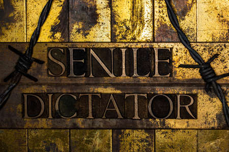 Senile Dictator text message on textured grungy copper and gold backgroundn with barbed wire
