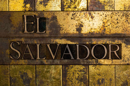 El Salvador text message on textured grunge gold and vintage copper background Stockfoto