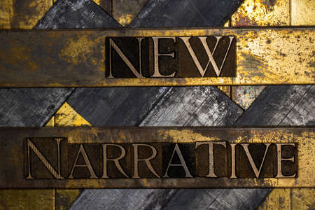 New Narrative text message on textured grunge copper and vintage gold background Stockfoto