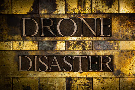 Drone Disaster text on textured grunge copper and vintage gold background