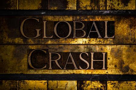 Global Crash text on textured grunge copper and vintage gold background