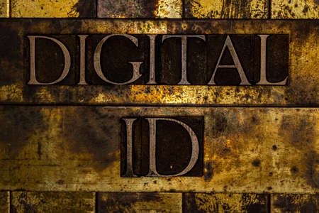Digital ID text on textured grunge copper and vintage gold background Stockfoto