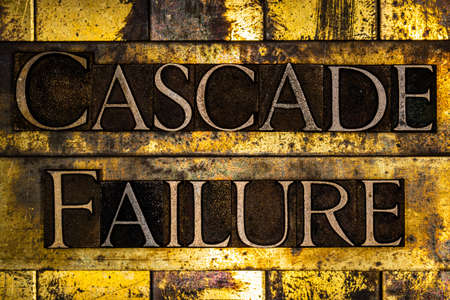 Cascade Failure text on textured grunge copper and vintage gold background