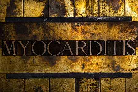 Myocarditis text on textured grunge copper and vintage gold background