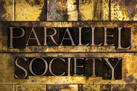 Parallel Society text on textured grunge copper and vintage gold background Stockfoto