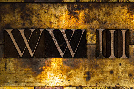 WW3 text on textured grunge copper and vintage gold background Stockfoto