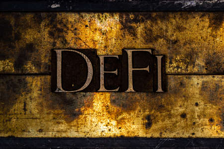 DeFi text on textured grunge copper and vintage gold background
