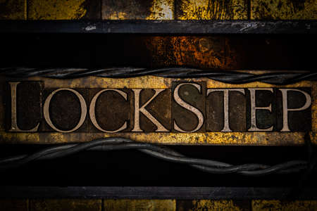 Lockstep text on textured grunge copper and vintage gold background