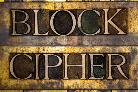 Block Cipher text on textured grunge copper and vintage gold background