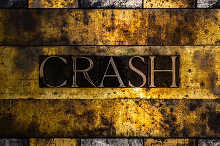 Crash text on textured grunge copper and vintage gold background