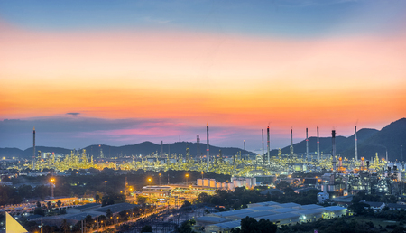 Oil refinery industry at Hightlight of Sunset scenery