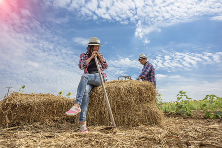chaff: couple Farmer working carry on chaff of litter in field
