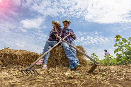 couple Farmer working carry on chaff of litter in field
