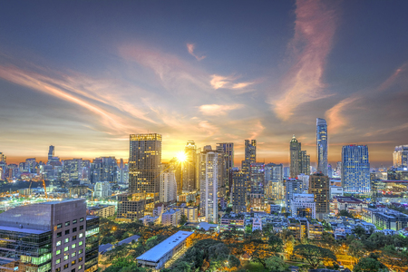 Bangkok capital city of Thailand in business areas at sunset meet nightlight Stock Photo