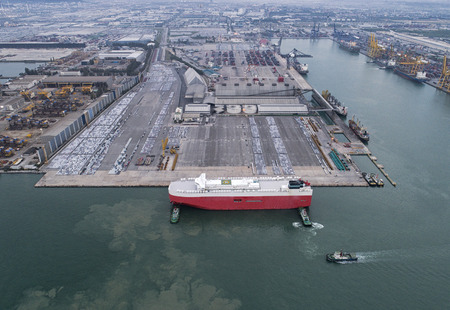 consignee: The vessel car carrier on berthing the terminal port alongside in arial view