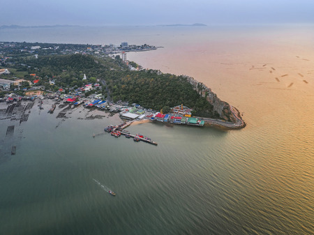 Fishing village in aerial view