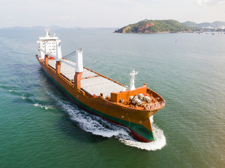 The conventional general cargo vessel ship under proceeding sailing on the route of port chennal due