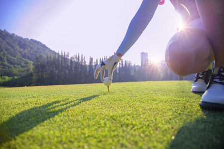 hand of woman golf player gentle put a golf ball onto wooden tee on the tee off, to make ready hit away from tee off to the fairway ahead