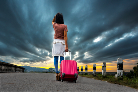 girl run away from home without destination Stock Photo
