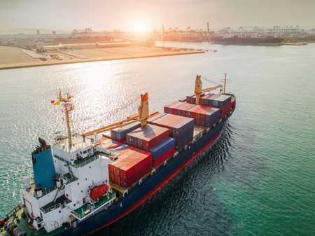 Container ship under sailing middle of the sea, carriage the shipment under logistics system services from source of loading port to destination port transport global worldwide