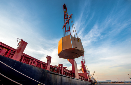 general bulk heavy lift ship in transmission the cargo delivery shipment in port terminal for logistics transport services to global worldwide Stock fotó