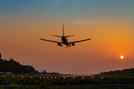 Airplane just arrive to the airport ready to landing on the runway, transportation worldwide for passengers transmission