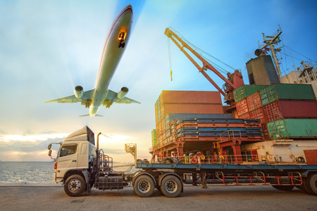 the logistics system services are all include seafreight saling with land trucking trailer and air swift delivery shipments always in time, one stop services for all kinds of transports cargo services Stock fotó
