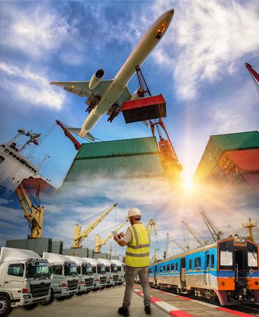 sistema logistico e servizi di trasporto verso tutto il mondo, spedizioni interne e marittime consegna globale spedizione e merci da porta a porta attenzione, tutti i tipi di servizi di trasporto CONCEPT