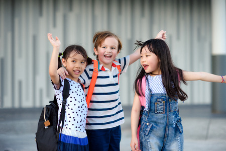 group of preschool enjoy and happy in leaving school after the end of class in a day Reklamní fotografie